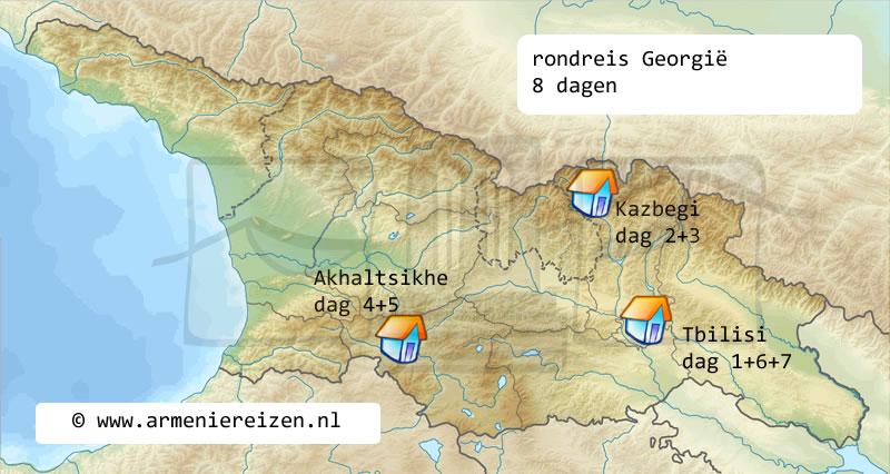 rondreis kaart Georgie 8 dagen