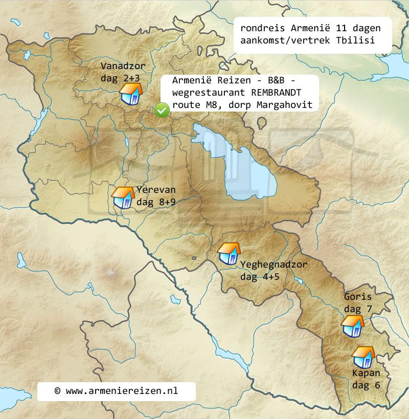 rondreis kaart Armenie 11 dagen