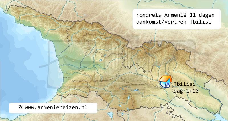 rondreis kaart Armenie Tbilisi 11 dagen